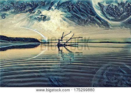 Fantasy landscape Illustration artwork - Lake and and Hills with driftwood reflecting in the water huge planet in the sky galaxy and comet