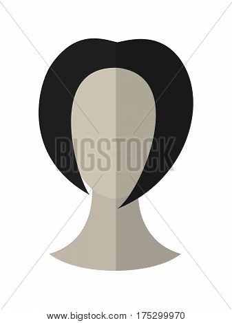 Flat icon hairstyle of brunette. Hair wig. Vector