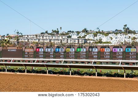 DEL MAR, CALIFORNIA - NOVEMBER 25, 2016:  Video board with race results at the Del Mar thoroughbred horse racing track.