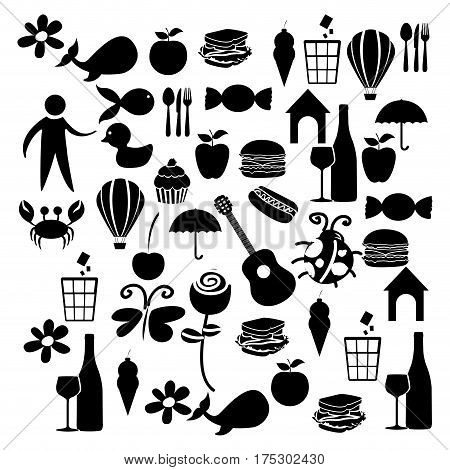 black silhouette set elements daily life icon vector illustration