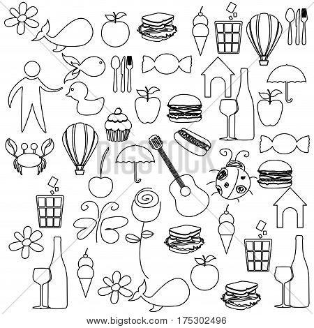 sketch contour set elements daily life icon vector illustration