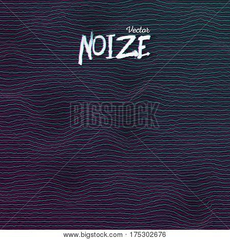 Illustration of Sound Noize Waves. Digital Wave Distortion Graph. Music Pulse Audio Spectrum Background