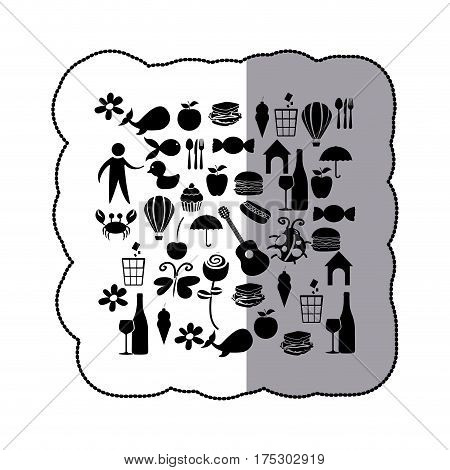 sticker black silhouette set elements daily life icon vector illustration