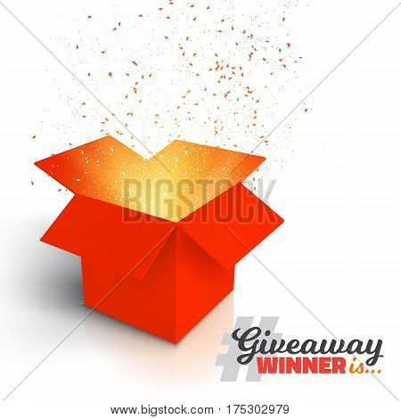 Illustration of Vector Red Gift Box Isolated on White Background. Open Box with Confetti. Giveaway Competition Enter to Win Prize Concept
