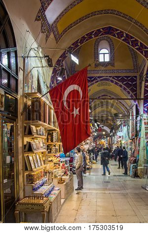 View of the shops in the Grand Bazaar in Istanbul poster