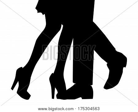 A man and womans legs dancing backdroped in silhouette over white