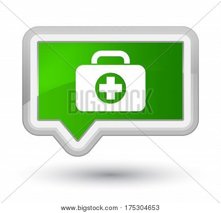 First Aid Kit Bag Icon Prime Green Banner Button