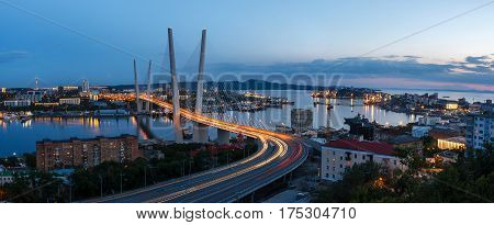 Beatiful view on Golden bridge in Vladivostok.