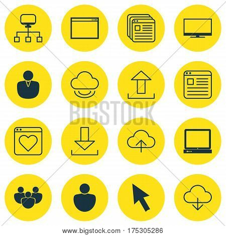 Set Of 16 World Wide Web Icons. Includes Human, Login, Save Data And Other Symbols. Beautiful Design Elements.