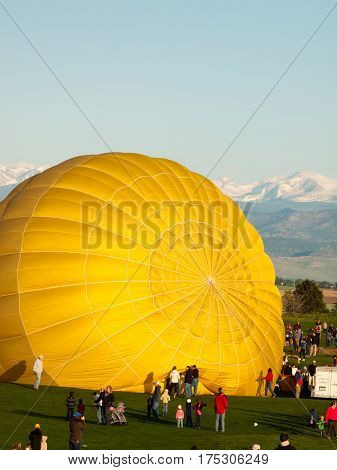Erie Colorado-May 20 2012: Annual Erie Town Fair and Balloon Festival. The balloon event is part of a day long street fair in the town of Erie.