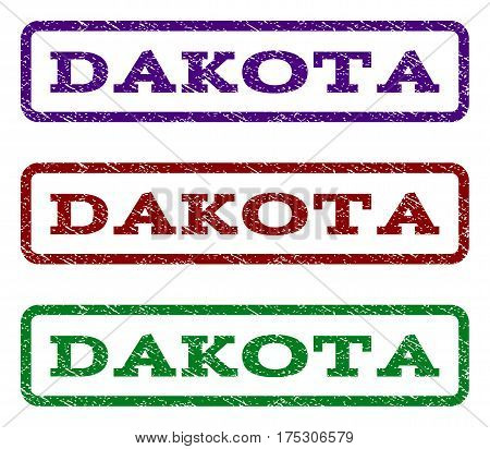 Dakota watermark stamp. Text tag inside rounded rectangle with grunge design style. Vector variants are indigo blue, red, green ink colors. Rubber seal stamp with scratched texture.
