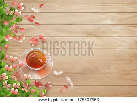 Vector spring flowers and a cup on wooden background. Perfect for wedding greeting or invitation design