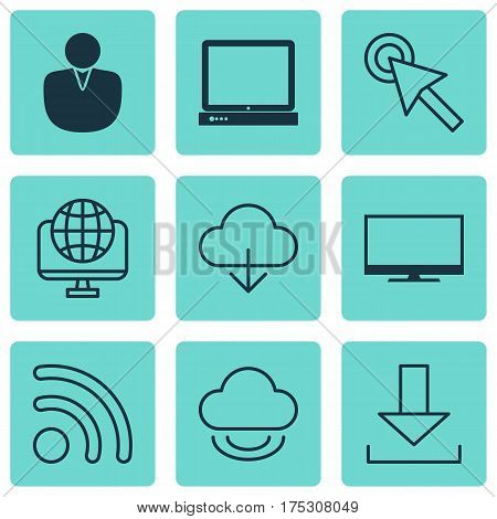 Set Of 9 World Wide Web Icons. Includes PC, Save Data, Display And Other Symbols. Beautiful Design Elements.