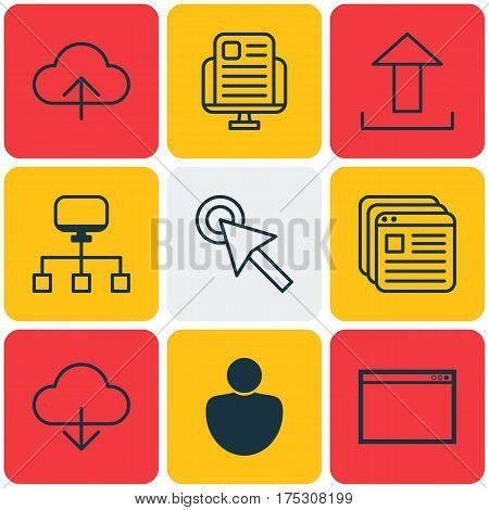 Set Of 9 Web Icons. Includes Data Synchronize, Send Data, Cursor Tap And Other Symbols. Beautiful Design Elements.