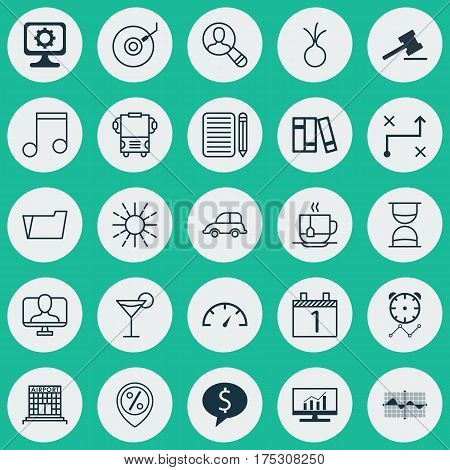 Set Of 25 Universal Editable Icons. Can Be Used For Web, Mobile And App Design. Includes Elements Such As Gramophone, Document Case, Note And More.