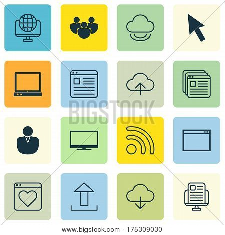 Set Of 16 Online Connection Icons. Includes Send Data, Blog Page, Computer Network And Other Symbols. Beautiful Design Elements.