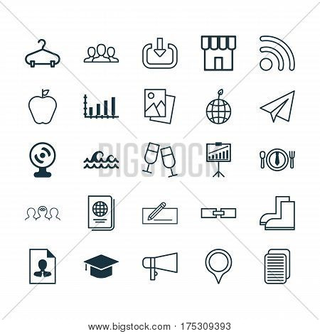 Set Of 25 Universal Editable Icons. Can Be Used For Web, Mobile And App Design. Includes Elements Such As Enter, Money Transfer, Society And More.