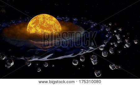 Star planet habitable zone liquid water 3d render