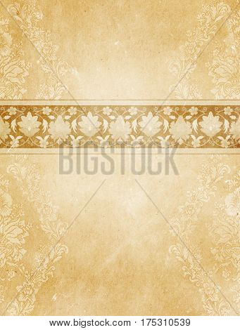 Aged and yellowed paper background with decorative floral border and old-fashioned patterns. Vintage paper background for the design.