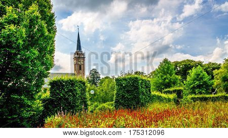 The church tower of the Keyserkerk in the town of Midden Beemster in the Beemster Polder in the Notherlands