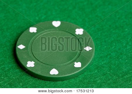 A green $25 pocker chip