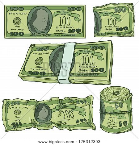 Vector Set of Cartoon Money. Green Banknotes Bankroll and Bundle