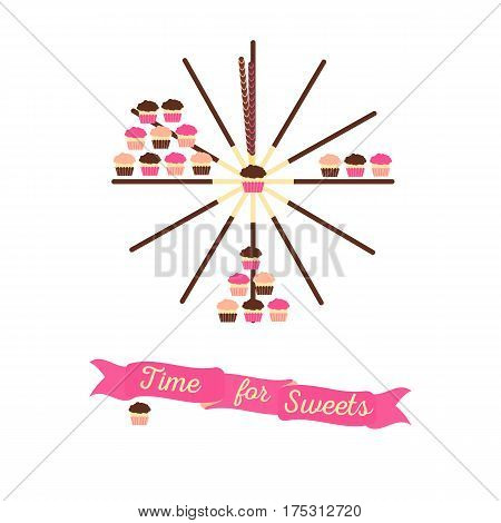 Time for sweets concept with a clock formed by pocky pepero sticks and cupcakes. Stock vector illustration for sweet lover and sugar affection