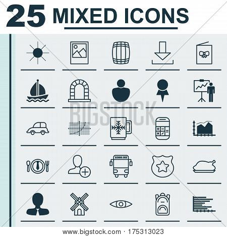Set Of 25 Universal Editable Icons. Can Be Used For Web, Mobile And App Design. Includes Elements Such As Cop Symbol, Mill, Transport Vehicle And More.