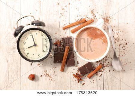 hot chocolate and alarm clock