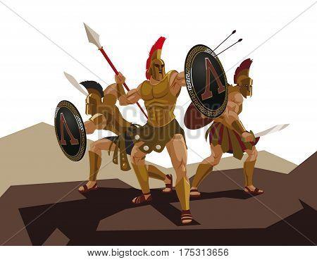 Detachment of Roman legionaries. Warriors defenders. Vector illustration poster