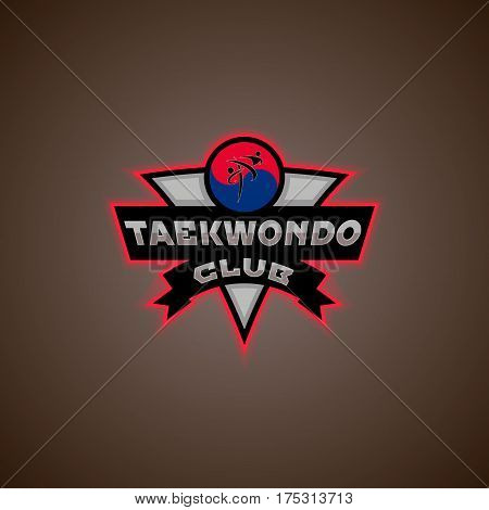 taekwondo logo for the team and the cup on a white background