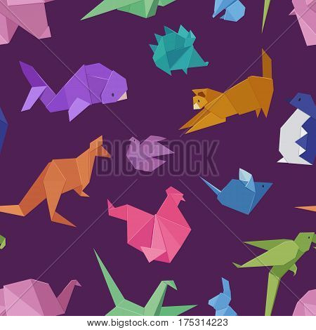 Origami style of different paper animals geometric game japanese toys design and asia traditional decoration hobby game seamless pattern vector illustration