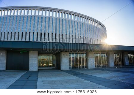 Krasnodar, Russia - March 06, 2016: Front of the new stadium of FC Krasnodar. entry group on March 06, 2017