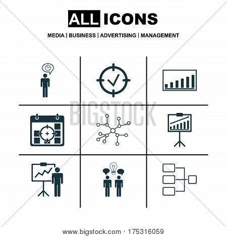 Set Of 9 Authority Icons. Includes Co-Working, Conversation, Approved Target And Other Symbols. Beautiful Design Elements.
