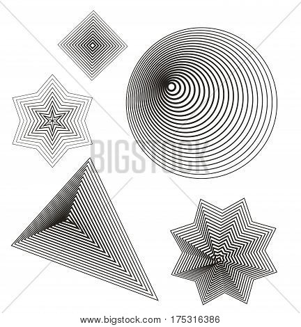 collection of trendy geometric Element. Vector Lines shape. Design Element. black graphic lines. threedimensional round, triangle. star, rhombus polygon.