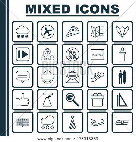 Set Of 25 Universal Editable Icons. Can Be Used For Web, Mobile And App Design. Includes Elements Such As Moving Staircase, Present, Text Bubble And More.