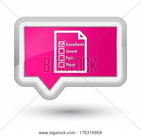 Questionnaire Icon Prime Pink Banner Button