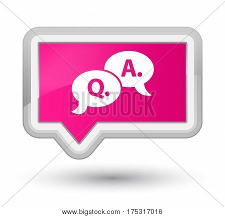 Question Answer Bubble Icon Prime Pink Banner Button