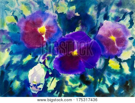 Abstract watercolor original painting purple color of petunia flower and green leaves in blue background. Hand painted Impressionist, abstract image, illustration.