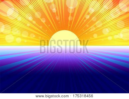 blue background reminiscent of the sea and the sun with bright rays