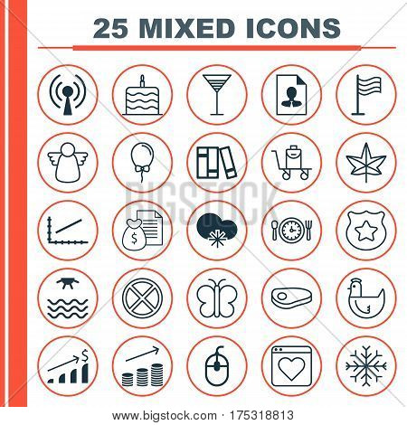 Set Of 25 Universal Editable Icons. Can Be Used For Web, Mobile And App Design. Includes Elements Such As Celebration Cake, Exit, Moth And More.