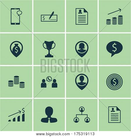 Set Of 16 Hr Icons. Includes Curriculum Vitae, Tree Structure, Pin Employee And Other Symbols. Beautiful Design Elements.