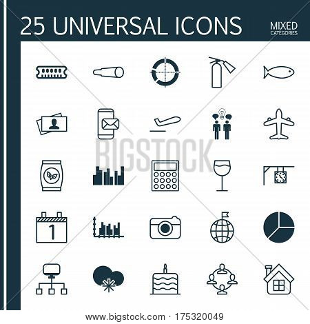 Set Of 25 Universal Editable Icons. Can Be Used For Web, Mobile And App Design. Includes Elements Such As Circle Chart, Fire Extinguisher, Co-Working And More.