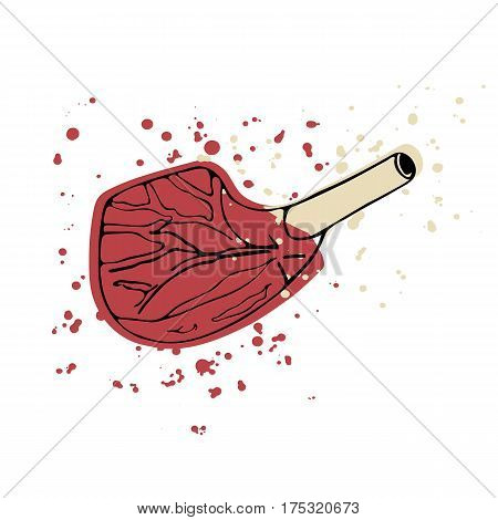 Hand drawn beef rib chop. Vector illustration.
