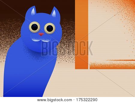 Cat sitting in the corner retro styled illustration with noisy shadows and bauhaus minimalism