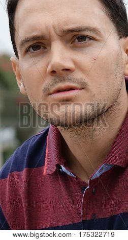 Serious Unemotional Young Italian Man Close Up