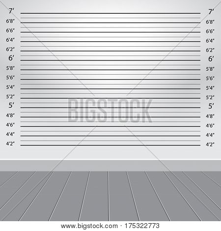 white grey studio with police lineup background vector illustration