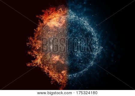 Planet Mercury in fire and water. Concept sci-fi artwork