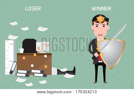 Business concept. Loser and winner. vector illustration.