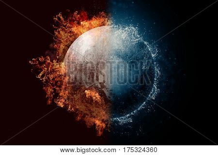Planet Pluto in fire and water. Concept sci-fi artwork